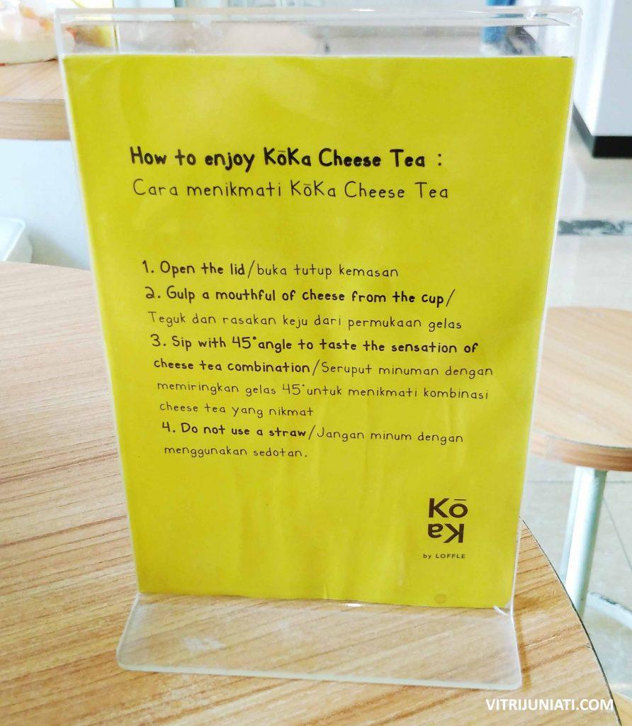 Cara menikmati Koka Cheese Tea